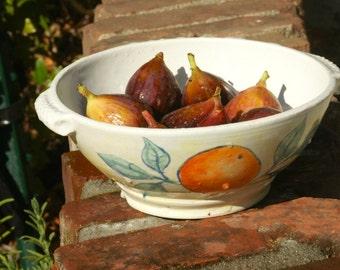Handmade Ceramic Berry Bowl, Ceramic Colander, Pottery Serving Bowl, hand thrown stoneware pottery, wheel thrown pottery
