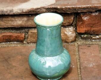 Handmade Ceramic Vase, Hand thrown Pottery Vase, Stoneware Pottery Vase, Peacock Green Vase, Textured Pottery Vase, Gifts for Her