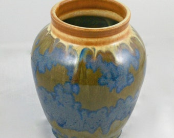 Blue Gold and Brown Stoneware Vase with crystalline glaze, hand thrown stoneware pottery vase, home decor, earth tone, rust