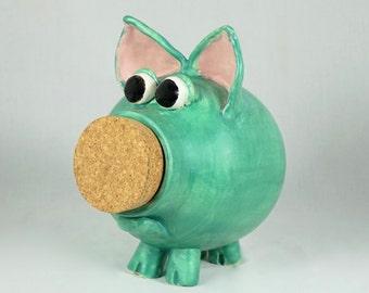 Handmade Ceramic Piggy Bank, Hand Thrown Stoneware Pottery, Wheel Thrown piggy bank, stoneware piggy bank, Leaf Green Matte