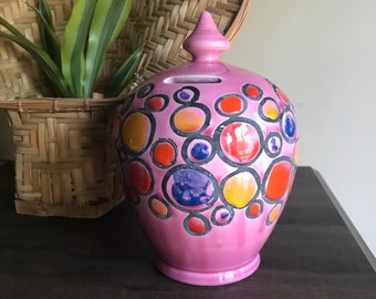 Vintage Mid Century Pink Hand Painted Bank Italy Mid Century Modernism