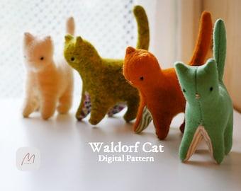 PDF-Waldorf Cat, Sewing Pattern Making Tutorial Felt Stuffed Animal Rag Doll Toy