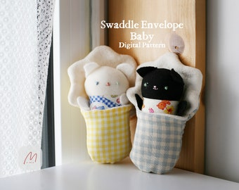 PDF-Swaddle Envelope, Rabbit Cat Bear Elephant, Sewing Pattern Making Tutorial DIY Stuffed Animals, Rag Doll, Toy