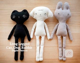 PDF-Long Legged Cat Dog Rabbit, Doll Sewing Pattern Making Tutorial Rag Stuffed Animal Easy Dress Up Kitty Puppy Bunny