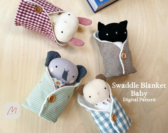 PDF-Swaddle Blanket, Rabbit Cat Bear Elephant, Sewing Pattern Making Tutorial DIY Stuffed Animals, Baby Animal Rag Doll, Toy
