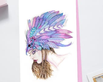 Feather Headdress Greeting Card With Crystals 6x8 Feather Notecard Blank Headdress Card Greeting Card Folded + Envelope Card Original Art