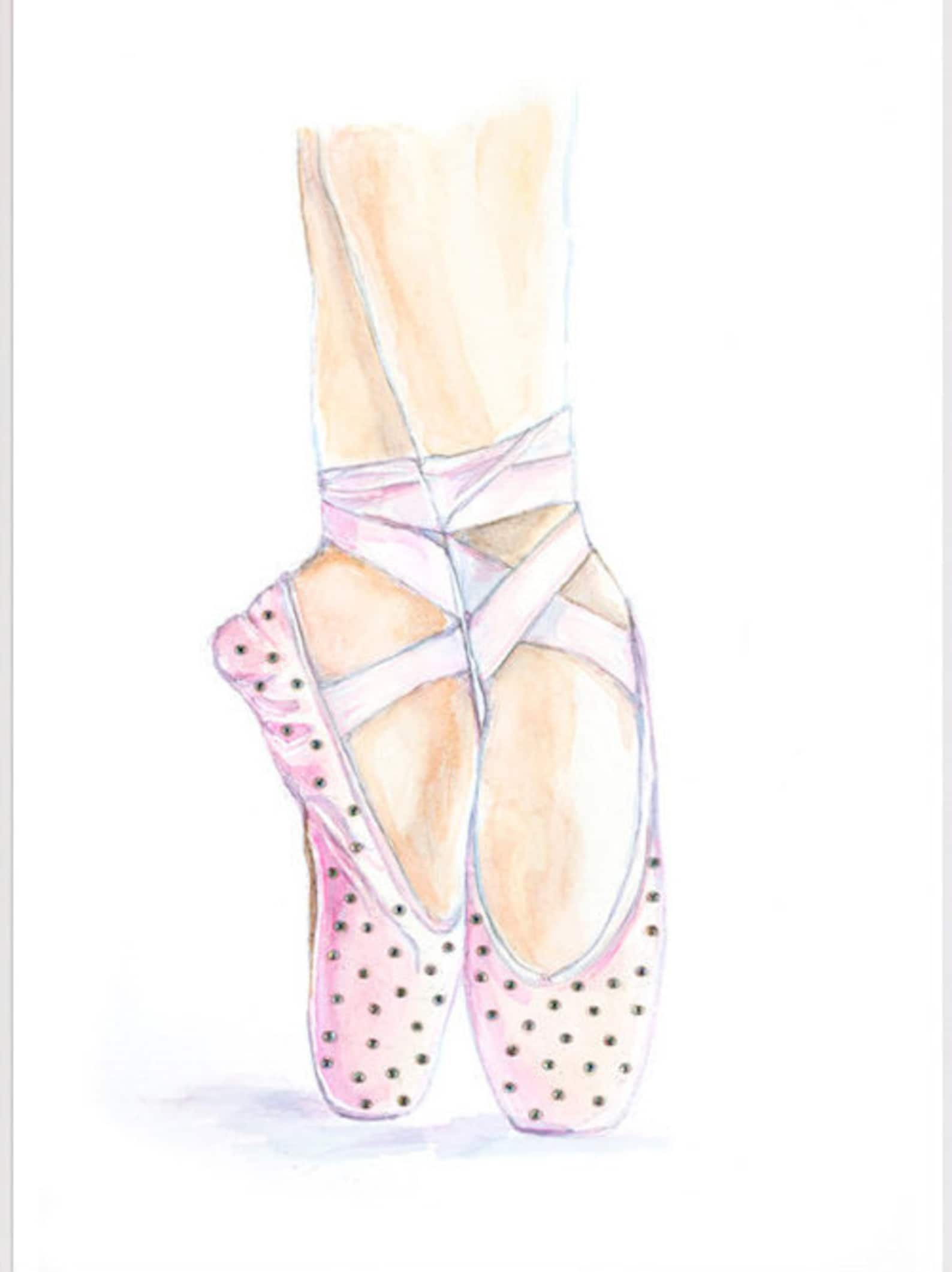 ballet shoes swarovski crystals embellished shoes illustration pointe shoes watercolor print ballet slippers ballerina art dance