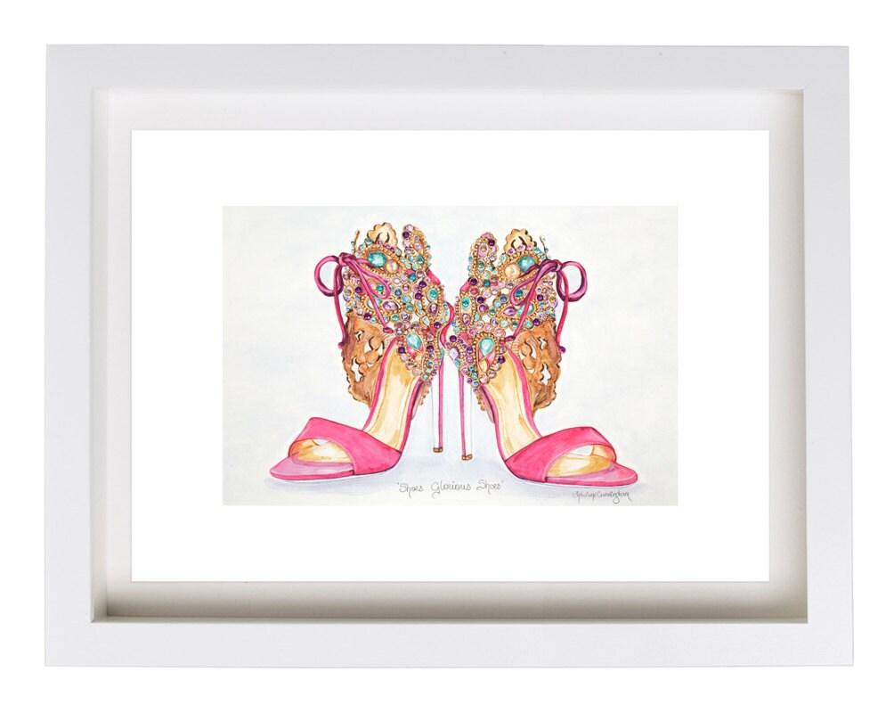 Fashion Print illustration Pink Shoes Watercolor Print Beaded Shoes Illustration Watercolor Shoes Print Fashion Art High Heels Art Designer Shoes Print Shoes e24492