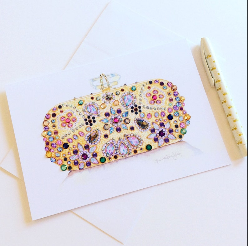 Gold Beaded Bag Greeting Card Fashion Art 6x8in Watercolour Print Crystal Embellished Handcrafted Card Birthday Card Someone Special Notelet
