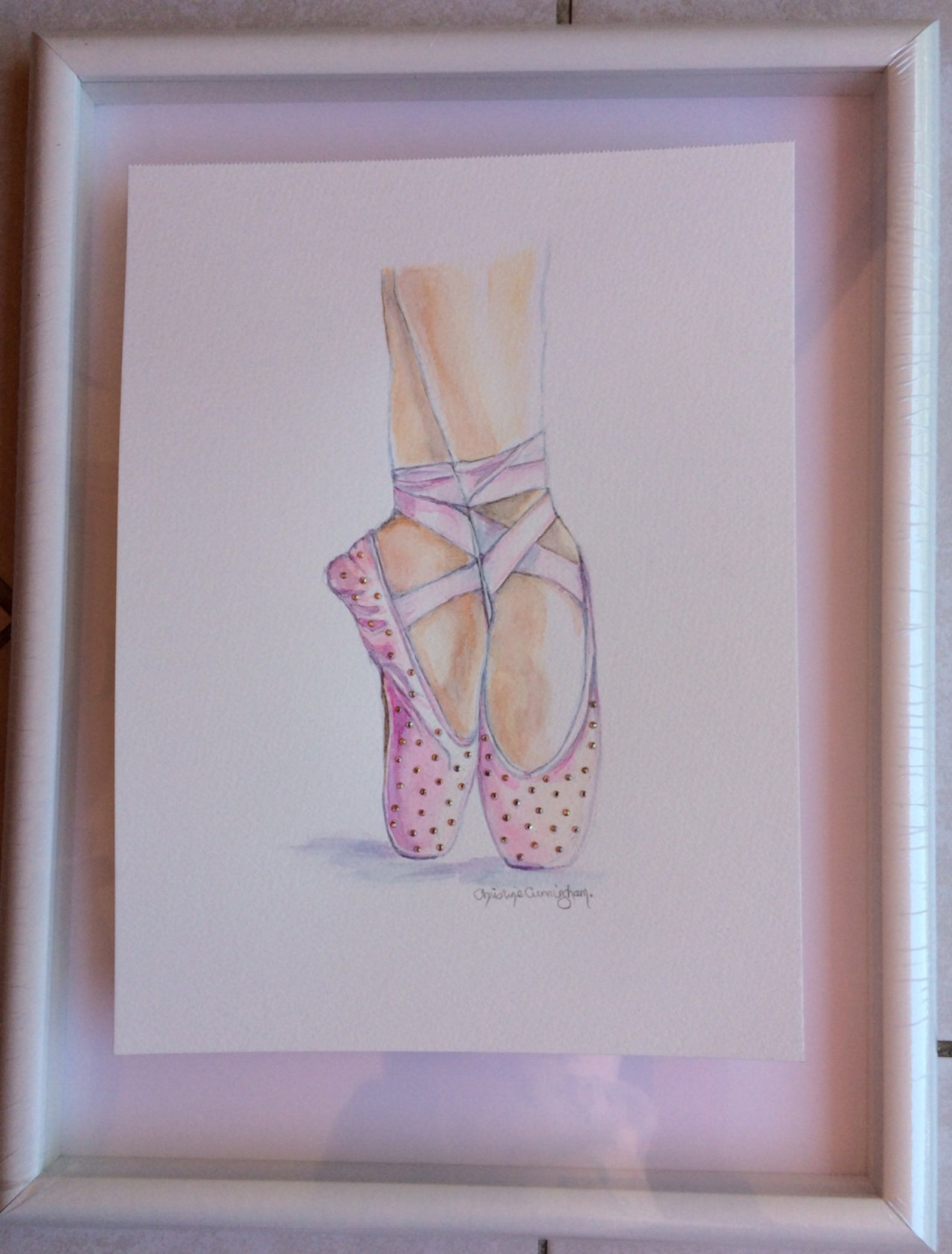 ballet shoes art print swarovski crystals embellished shoes illustration pointe shoes ballet slippers ballerina art dance art ba