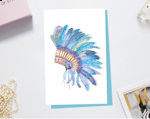Greeting card print of handcrafted original drawing Native American.