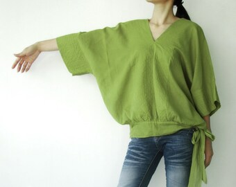 NO.13 Lime Green Cotton V-Neck Top, Dolman Sleeves Top, Women's Top