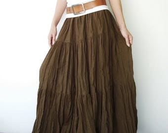 NO.5 Brownish Green Cotton, Hippie Gypsy Boho Tiered Long Peasant Skirt