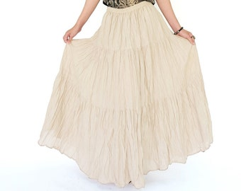 d19fcd316d NO.5 Cream Cotton Gauze, Hippie Gypsy Boho Tiered Long Peasant Skirt