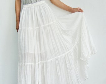 26d707606c NO.5 White Cotton Gauze, Hippie Gypsy Boho Tiered Long Peasant Skirt
