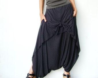 NO.86 Women's Low Drop Crotch Asymmetrical Harem Pants #Black