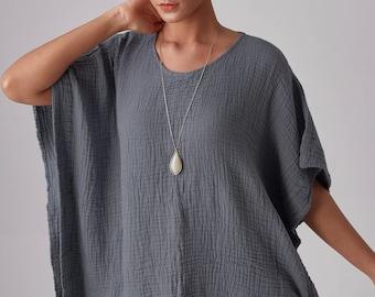 NO.246 Women's Minimalist Loose Kaftan Top #Bluish Gray