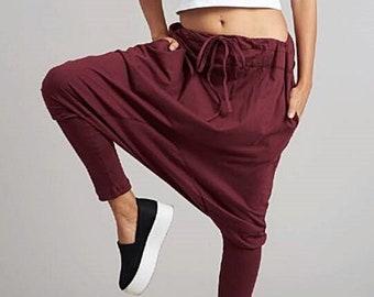 NO.58 Deep Red Cotton Jersey Harem Pants, Yoga Pants,  Drawstring Trousers, Unisex Pants