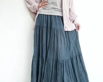 dae900074 NO.5 Bluish Gray Cotton Gauze, Hippie Gypsy Boho Tiered Long Peasant Skirt