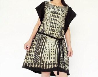 NO.150 Black and Cream Cotton Jersey Geometric Dip-Dye Printed Tunic, Drawstring Day Dress