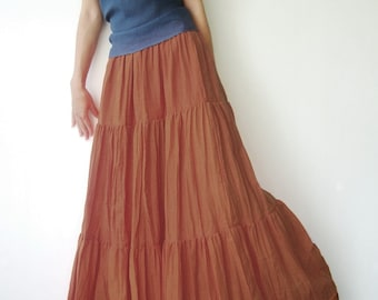 0e79f25607 NO.5 Orange Ochre Cotton Gauze, Hippie Gypsy Boho Tiered Long Peasant Skirt