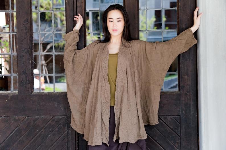 NO.243 Double Gauze Cotton Kimono Collar Cardigan Kimono Style Blouse