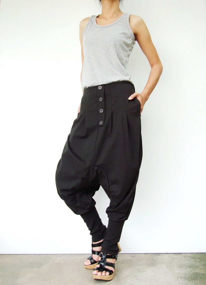 ff7819bb8276 NO.64 Dark Grey Cotton Jersey Casual Baggy Dance Harem Pants | Etsy