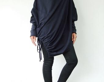 NO.59 Women's Cowl Neck Long Sleeve Asymmetrical Hem Sweater #Blue