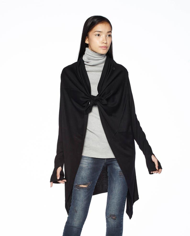Women\u2019s Cardigan Wrap Top NO.61 Black Cotton-Blend Jersey Versatility Cardigan