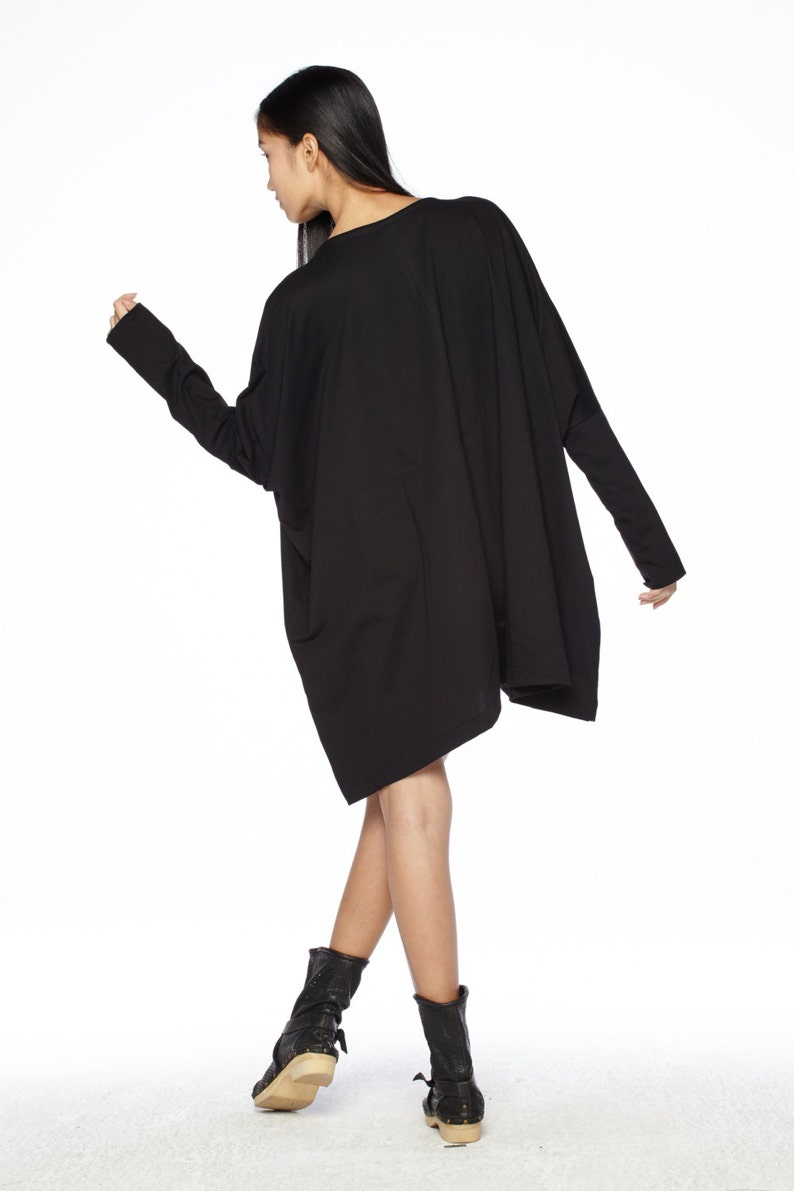 Women\u2019s Top NO.62 Black Cotton Jersey Oversized T-Shirt Tunic Sweater