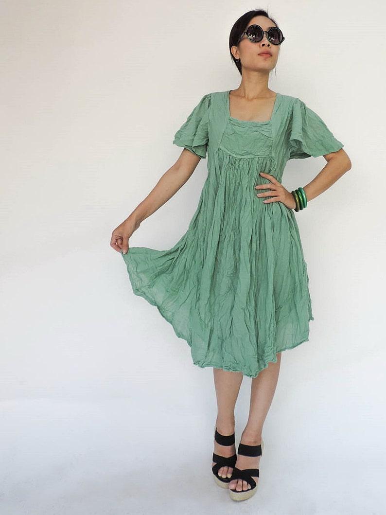 781c640e7f148 NO.9 Mint Cotton Bell Sleeves Tunic Dress Day Dress | Etsy