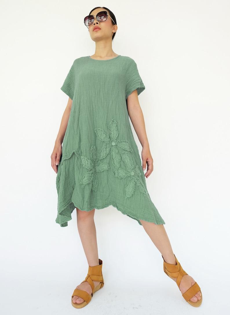 NO.200 Women/'s Short Sleeves Floral Appliqu\u00e9 Tunic Dress #Mint