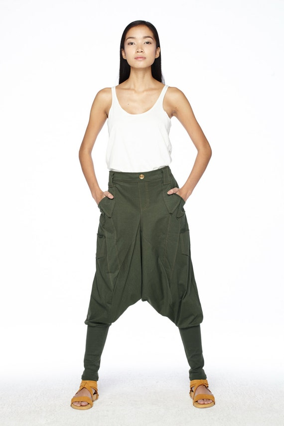 N ° 95 95 95 Dark Olive Jersey décontracté pantalon Sarouel en coton pantalon, poches Unique Drop-entrejambe pantalon, unisexe 4949a0