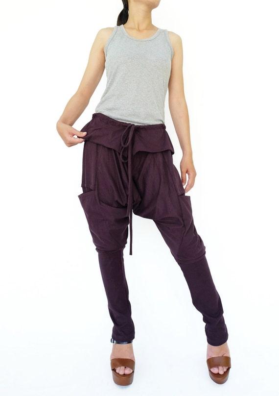 Unisex Harem Pants NO.180 Dark Blue Cotton Jersey Envelope Waist Pants Drawstring Drop Crotch Trousers