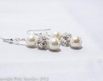 Ivory Pearl Earrings, Rhinestone Earrings,Bridal Pearl Earrings