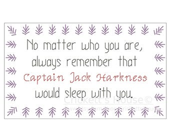 No Matter Who (short) - Cross Stitch Pattern - Quotes - Dr Who - Jack Harkness - INSTANT DOWNLOAD