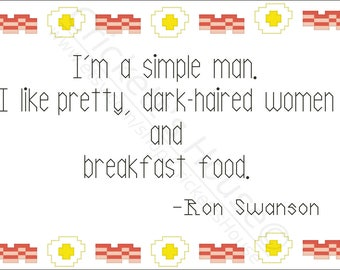 Dark Haired - Cross-Stitch Pattern - Quotes - Parks & Rec - Ron Swanson - INSTANT DOWNLOAD