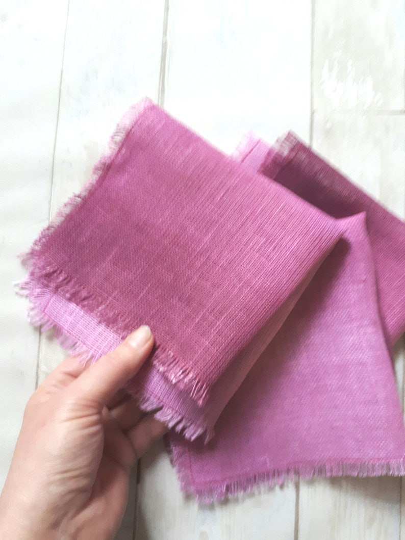 Linen napkins set of 3 hand dyed ombre pink maroon linen image 0