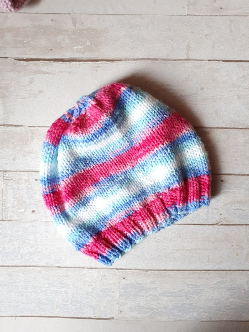 Stripped beanie colorful rainbow stripped knit hat pink and blue gift for her