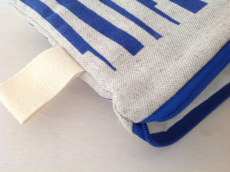 /'FORMS/' blue Hand printed linen purse with zip