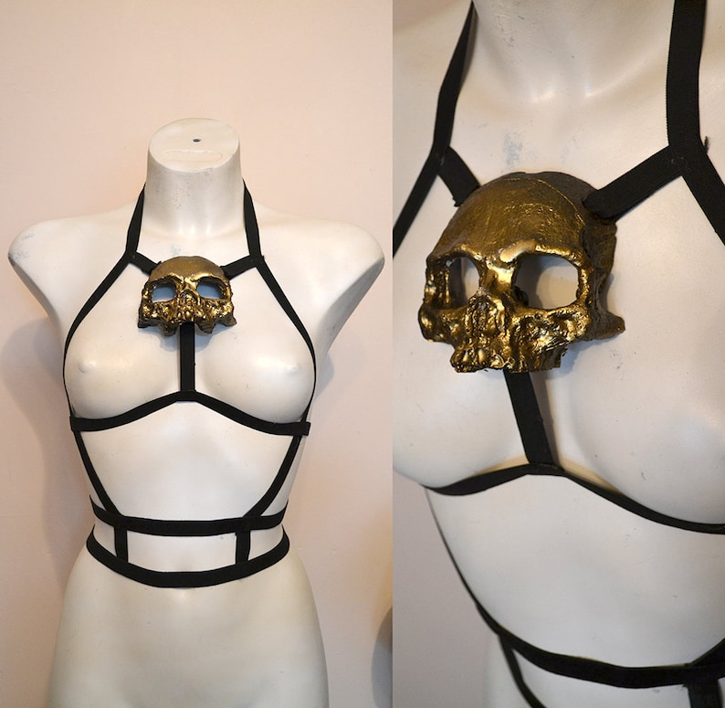 Gold resin skull black caged body harness by Mortiis.M