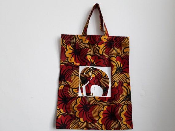 8c627c0249fc African Print Ankara Kitenge Print Wax Tote Bag Elephant