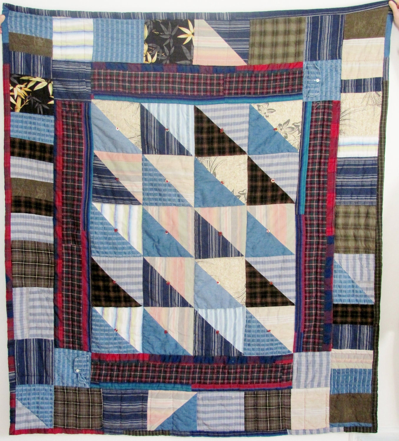 Memory Quilt From Dad S Shirts Etsy