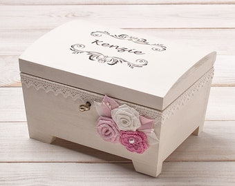 bc4023f3a Jewelry Box for Girls, Personalized New Baby Memory Box Little Girls Jewelry  Box Engraved Keepsake Box Baby Girl Christening Flowergirl Gift