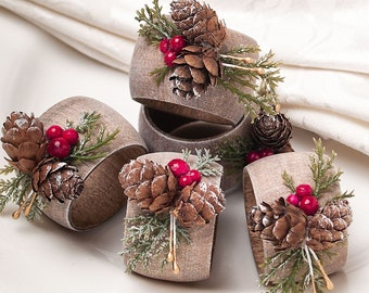 Thanksgiving Table Decor, Christmas Napkin Rings, Christmas Dining Table Decor, Rustic Home Napkin Ring Holders, Holiday Table Decorations