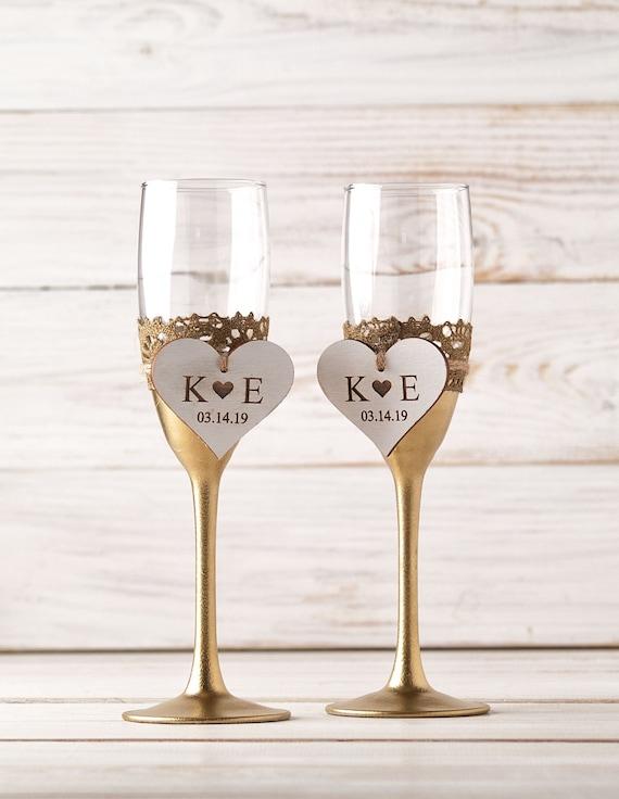 Gold Hochzeit Sektgläser Personalisierte Gold Champagne Flöten Für Die Trauung Herr Und Frau Jahrestag Toasten Gläser Mit Herzen