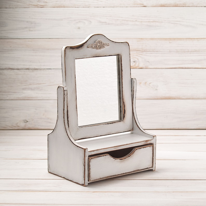 Vanity Mirror Shabby Chic Compact, Wood Makeup Mirror With Drawer For  Bathroom, White Distressed Home Decor, Jewelry Holder For Girl Women