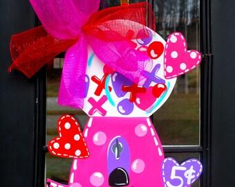 Valentine Door Hanger, Valentine Decor, Valentines Day Door Decor, Valentine Bubblegum