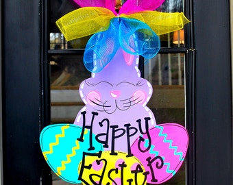 Easter Bunny Wreath | Easter Door Hanger | Easter Door Decorations | Easter Decor | Deco Mesh Wreath