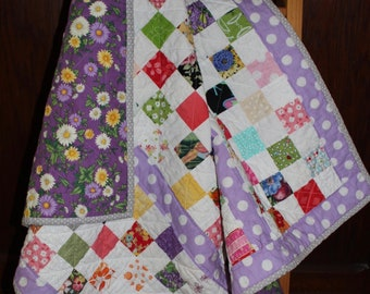 Baby/Toddler  Patchwork Crib Quilt in a Scrappy Vintage Style